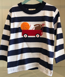 Long Sleeve Wide Stripe T-Shirt - Wagon with Sports Balls