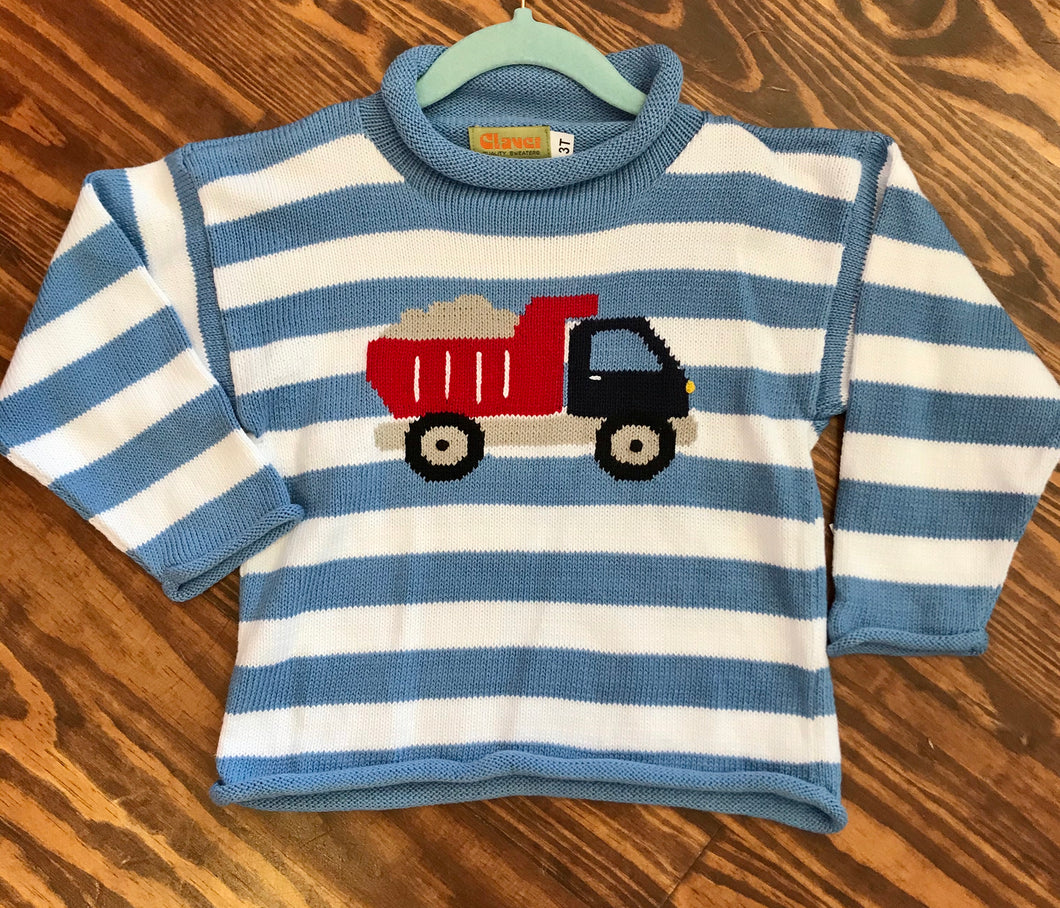 Chambray & White Roll Stripes with Dump Truck
