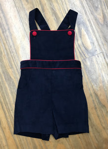Navy Corduroy Boys Suspender Shortall