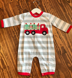 Christmas Tree Delivery - Boys Applique Romper
