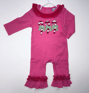 Candy Cane Girls Applique Romper