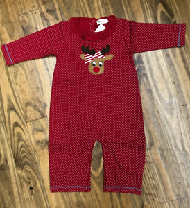 Reindeer Long Sleeve Ruffle Neck Onesie