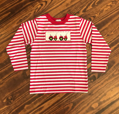 Tractor Smocked Red Stripe Knit Top
