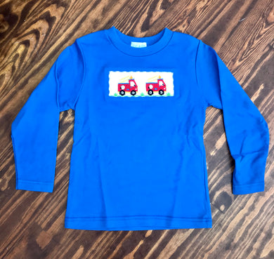 Firetruck Smocked Royal Blue Knit Top
