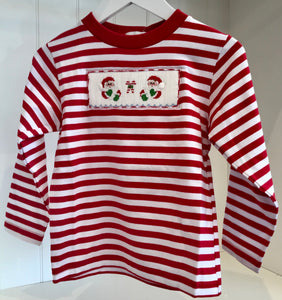 Ho Ho Ho Smocked Red Stripe Knit Top