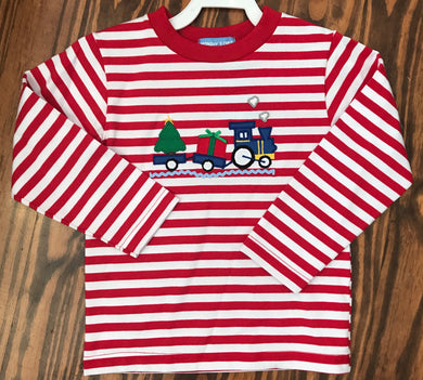 Train Applique Red Stripe Knit Boys Tee