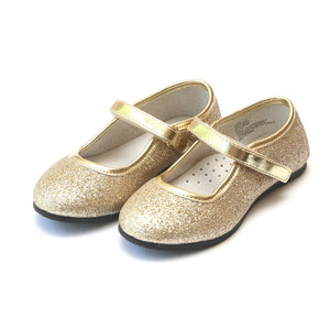 L'amour Eloise Fine Glitter Special Occasion Almond Shaped Flat - Gold