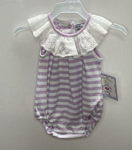 Lilac Stripe Knit Bubble w/ Lace