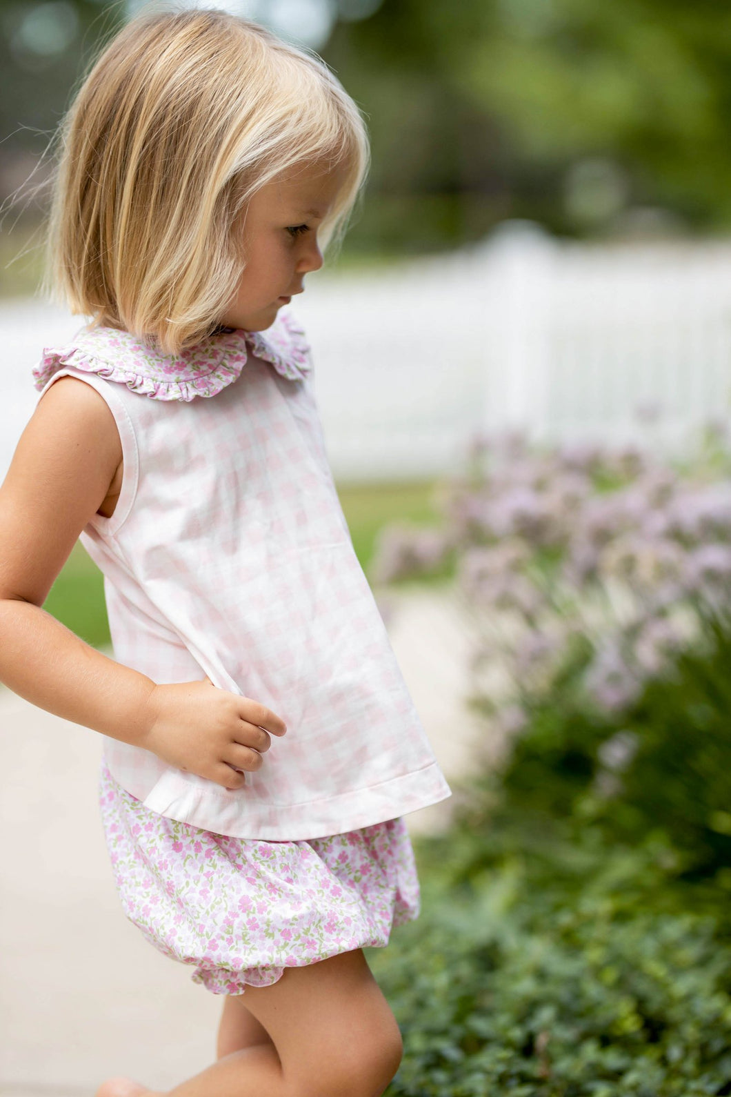 Maisy Bloomer Set - Pink Gingham Top and Floral Bloomers