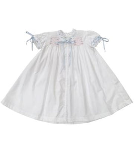 Heirloom Bloomer Gown - White Batiste w/ Blue & Pink Smocking