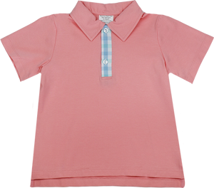 Parker Polo - Peach/Gingham - Tip Toe Through The Tulips