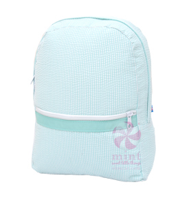 Mint Seersucker Medium Backpack