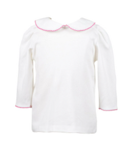 White with Pink Trim 3/4 Sleeve