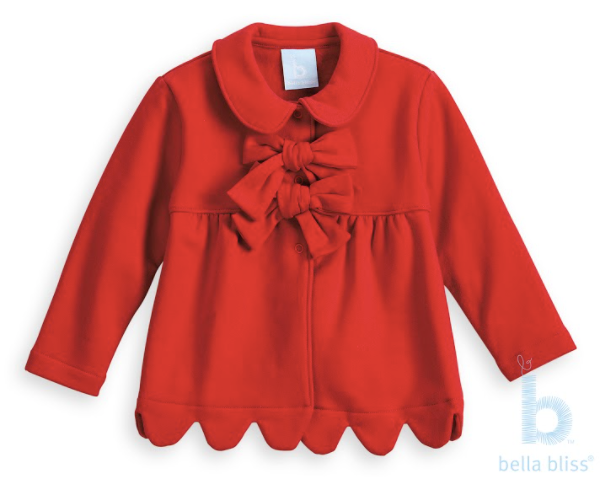 Red French Terry Scalloped Lotus Coat