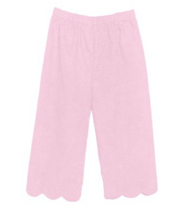 KENDALL PANTS - KNIT SOLID SOFT PINK SCALLOPED HEM PANTS