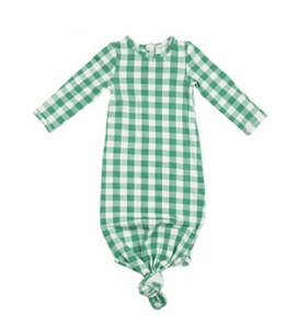 Green Gingham Knotted Gown