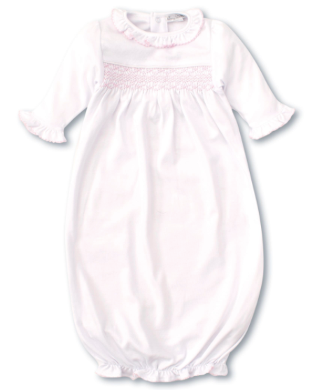 CLB Charmed Sack w/ Hand Smocking - White/Pink