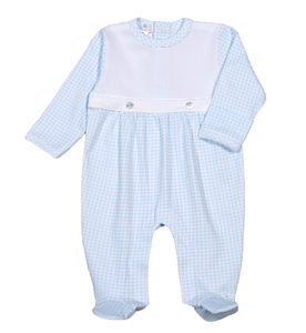 PETER BLUE GINGHAM PIMA FOOTIE TWO BUTTON