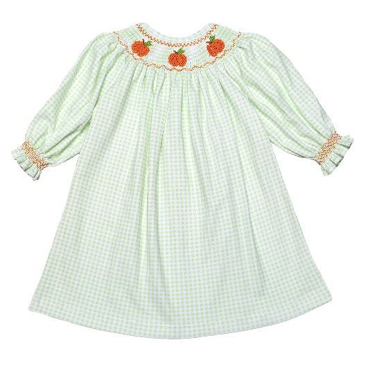 PUMPKIN PATCH GREEN PIMA BISHOP DRESS