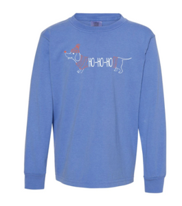 HoHoHo Dog Long Sleeve Tee - Sky Blue