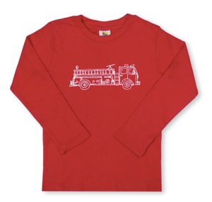 Fire Truck Long Sleeve Tee - Red