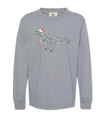 Tangled Up T-Rex Long Sleeve Tee - Slate