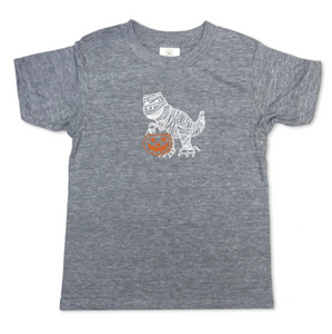 Dino Mummy Short Sleeve Tee - Heather Grey