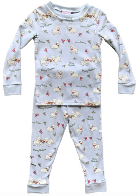 Boys Sweet Dreams Pajamas - Lt Blue Knit w Christmas Lambs