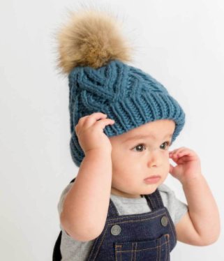 Pop Slate Blue Cable Hat