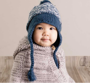 Marled Atlantic Blue Earflap Beanie Hat