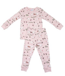 Girls Sweet Dreams Pajamas - Lt Pink Knit w Christmas Lambs