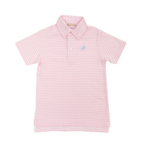 Prim & Proper Polo - Palm Beach Pink Stripe/Buckhead Blue