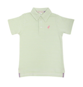 Prim & Proper Polo - Marietta Mint Stripe/Hamptons Hot Pink
