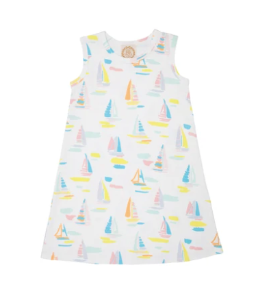 Sleeveless Polly Play Dress - Sandyport Sailboat White