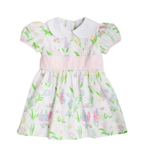 Cindy Lou Sash Dress - Belvedere Blooms/Worth Avenue White