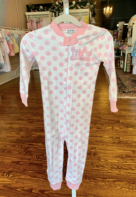 Bunny Trio Applique Zipped Pajama - Pink