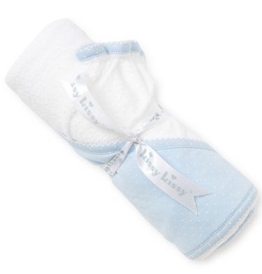New Kissy Dots Towel w/Mitt - Light Blue/White