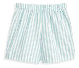 bella bliss Printed Boy's Play Short - Green Wide Stripe