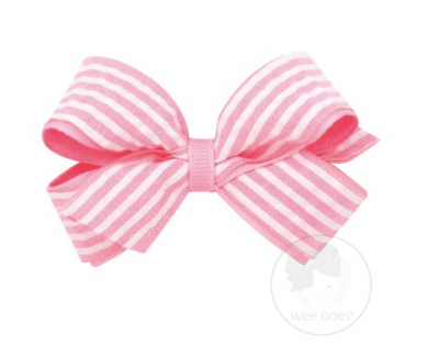 Mini Genuine Seersucker Overlay Bow - Pink