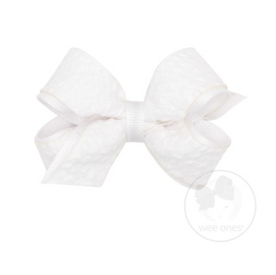 Mini Genuine Seersucker Overlay Bow - White