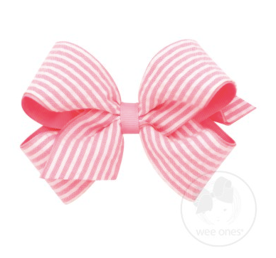 Medium Genuine Seersucker Overlay Bow - Pink