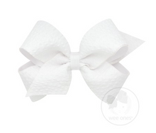 Medium Genuine Seersucker Overlay Bow - White