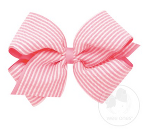 King Genuine Seersucker Overlay Bow - Pink