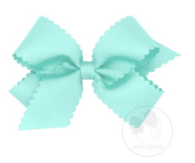 Medium Scalloped Edge Grosgrain Bow - CRYSTALLINE