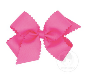 Medium Scalloped Edge Grosgrain Bow - Hot Pink