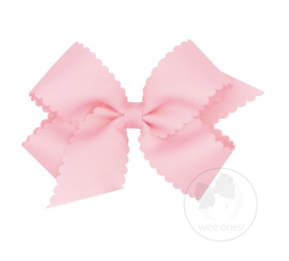 Medium Scalloped Edge Grosgrain Bow - Light Pink
