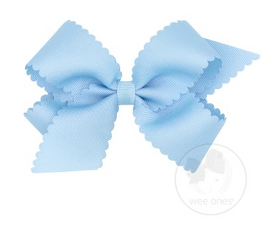 Medium Scalloped Edge Grosgrain Bow - MILLENNIUM BLUE