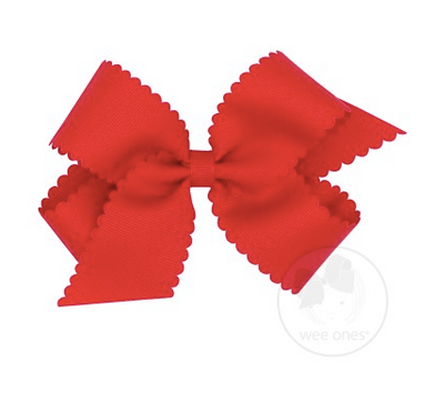 Medium Scalloped Edge Grosgrain Bow - Red