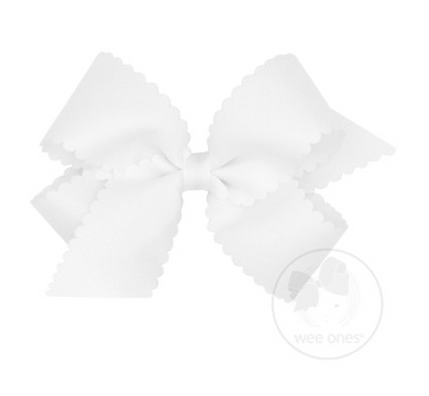 Medium Scalloped Edge Grosgrain Bow - White