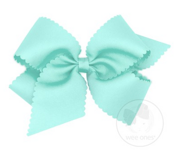 King Scalloped Edge Grosgrain Bow - CRYSTALLINE